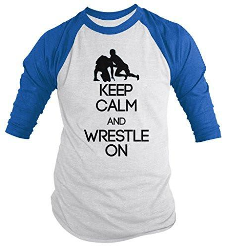 Shirts By Sarah Men's Keep Calm Wrestle On Shirt Wrestling 3/4 Sleeve Raglan Shirts-Shirts By Sarah