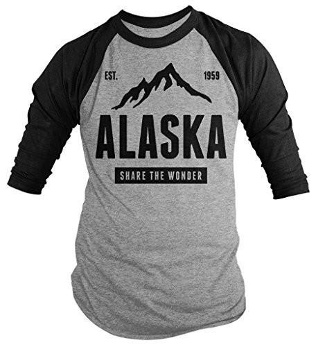 Shirts By Sarah Men's Alaska State Pride 3/4 Sleeve Shirt Mountains Wonder Raglan Tee-Shirts By Sarah