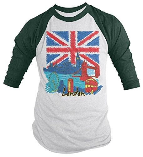 Shirts By Sarah Men's London Shirt British Flag City 3/4 Sleeve Raglan Shirts-Shirts By Sarah