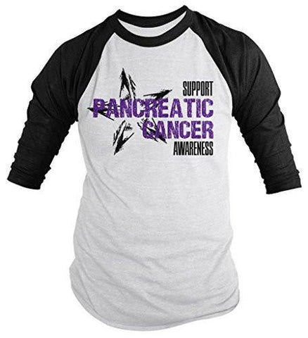Shirts By Sarah Men's Support Pancreatic Cancer Awareness Shirt 3/4 Sleeve Raglan Shirts - Black/White / XX-Large - 1