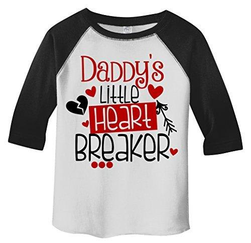 Shirts By Sarah Toddler Daddy's Little Heart Breaker Kids Funny Valentines Day 3/4 Sleeve T-Shirt-Shirts By Sarah