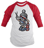 Shirts By Sarah Men's Barber Skater Hipster Skateboard 3/4 Sleeve Raglan Shirt-Shirts By Sarah