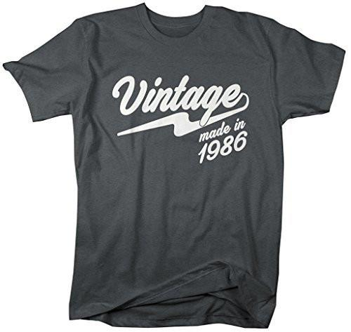 Shirts By Sarah Men's Vintage Made In 1986 T-Shirt Retro Birthday Shirts-Shirts By Sarah
