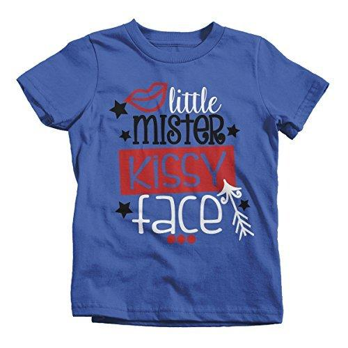 Shirts By Sarah Boy's Little Mister Mr. Kissy Face Funny Valentines Day T-Shirt-Shirts By Sarah