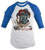 Shirts By Sarah Men's Fortune Favors Bold Gambling Shirt 3/4 Sleeve Raglan Jester Shirts-Shirts By Sarah