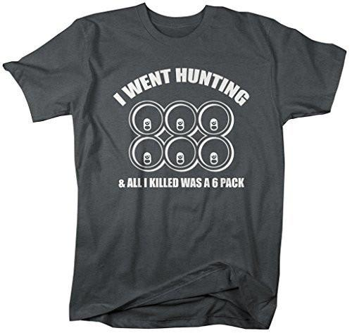 Shirts By Sarah Men's Funny Hunting T-Shirt Killed Six Pack Beer Shirt-Shirts By Sarah