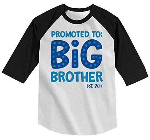 Shirts By Sarah Boy's Toddler Promoted to Big Brother EST. 2019 Baby Reveal T-Shirt Cute Shirt 3/4 Sleeve Raglan-Shirts By Sarah
