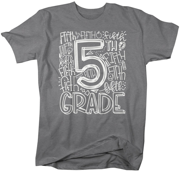 Men's Fifth Grade Teacher T Shirt 5th Grade Typography T Shirt Cute Back To School Shirt 5th Teacher Gift Shirts-Shirts By Sarah
