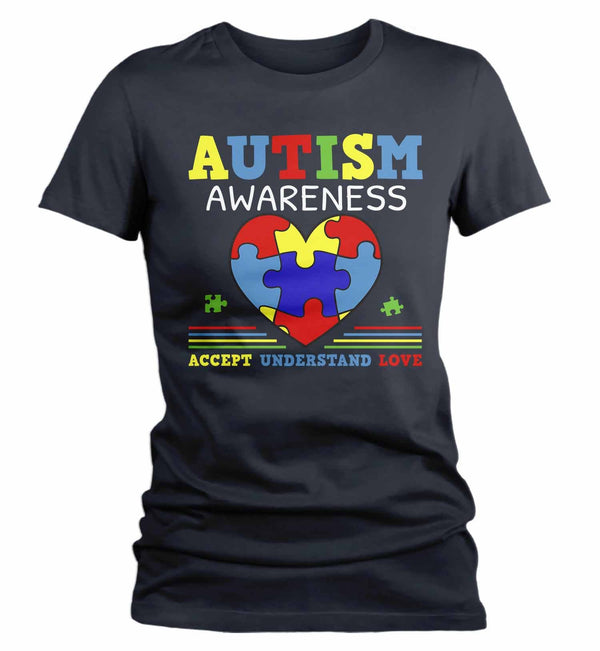 Women's Autism Awareness Shirt Accept Understand Love Shirt Autism Heart Shirt Puzzle Awareness Shirts Cute TShirt-Shirts By Sarah