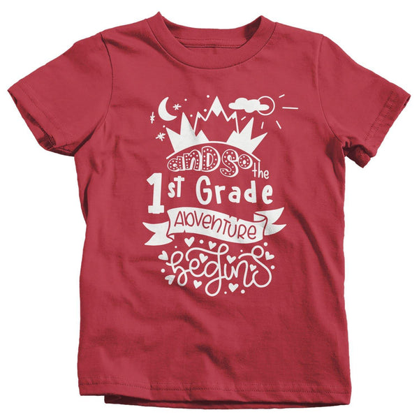 Kids Cute 1st Grade T Shirt Typography Adventure Begins Shirt Boy's Girl's First Grade Back To School TShirt-Shirts By Sarah