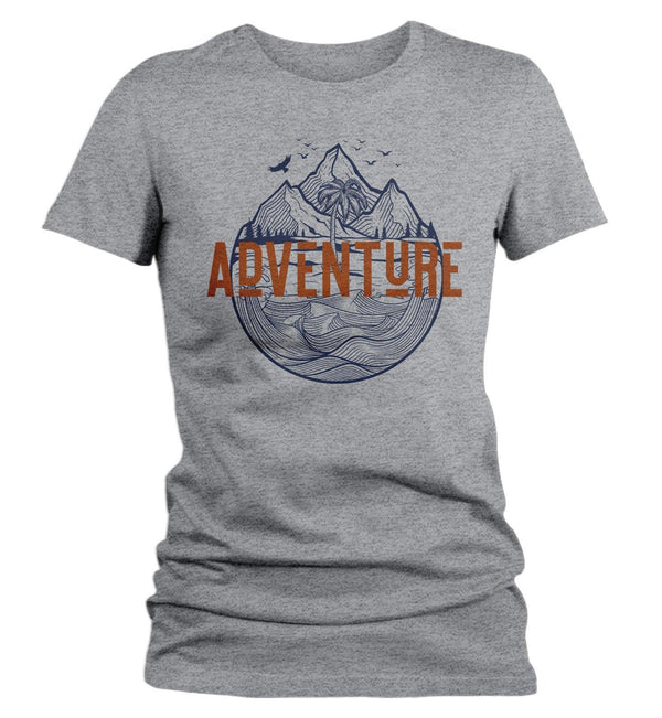 Women's Adventure T Shirt Beach Shirts Mountains Shirt Palm Tree TShirt Exploration Shirts Hipster Shirts-Shirts By Sarah
