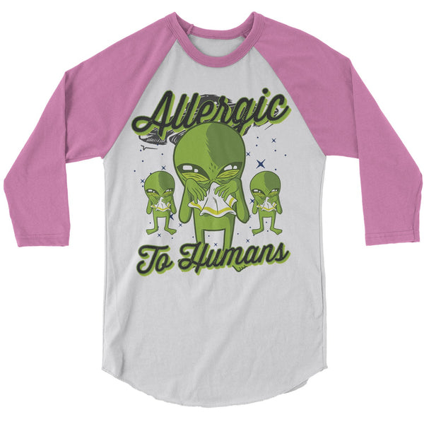 Men's Funny Alien T-Shirt Allergic To Humans Raglan 3/4 Sleeve Space Shirts Graphic Tee Aliens Sick Funny Shirts-Shirts By Sarah