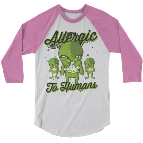aa144ffd8 Men's Funny Alien T-Shirt Allergic To Humans Raglan 3/4 Sleeve Space Shirts