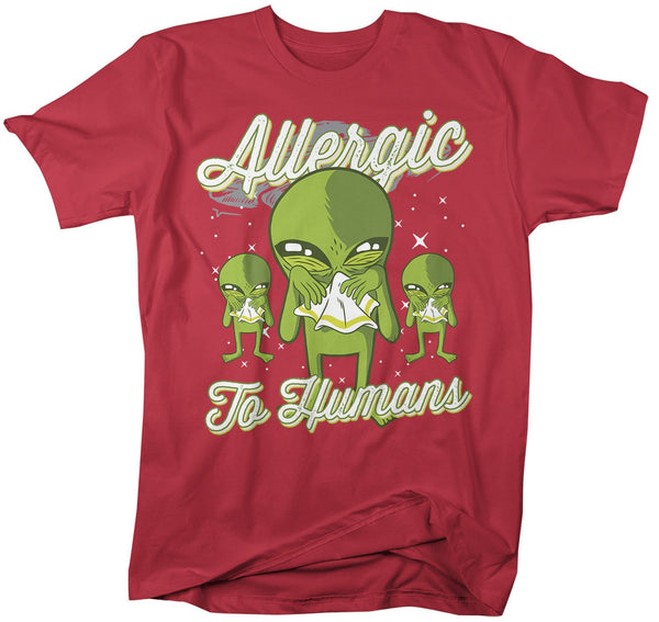Men's Funny Alien T-Shirt Allergic To Humans Shirt Space Shirts Graphic Tee Aliens Sick Funny Shirts-Shirts By Sarah