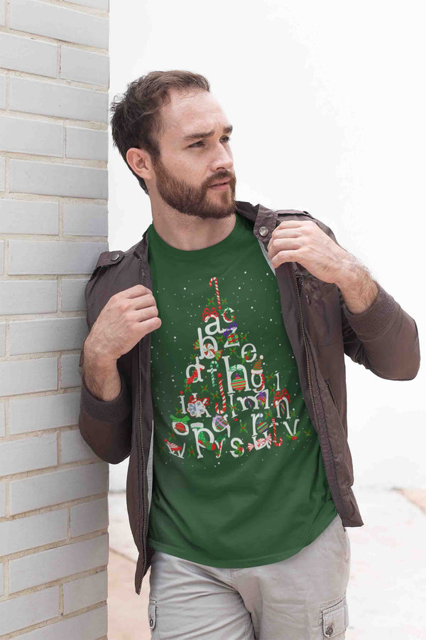 Men's Christmas Tree T Shirt Teacher Christmas Shirts Alphabet Shirt Tree Shirt Cute Christmas Shirt-Shirts By Sarah