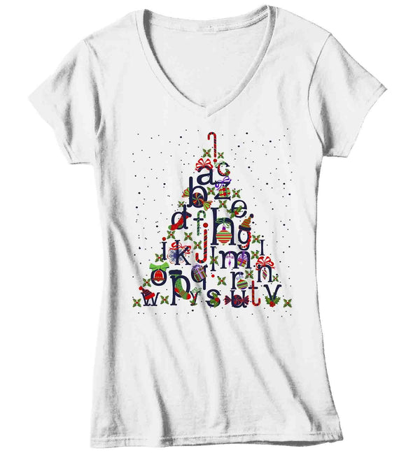 Women's Christmas Tree T Shirt Teacher Christmas Shirts Alphabet Shirt Tree Shirt Cute Christmas Shirt-Shirts By Sarah