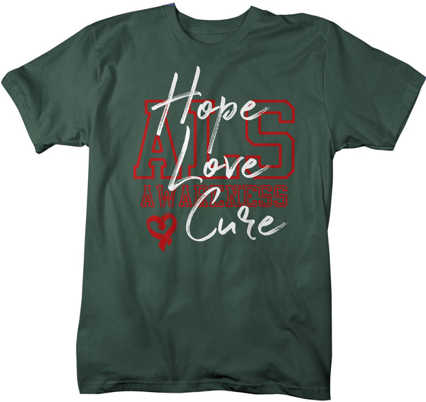Men's Hope Love Cure ALS T-Shirt Red ALS Amyotrophic Lateral Sclerosis Ribbon Awareness Shirt-Shirts By Sarah