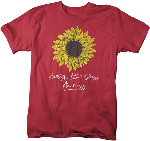 Men's ALS T-Shirt Sunflower Shirts ALS Amyotrophic Lateral Sclerosis Tshirt ALS Awareness Shirt-Shirts By Sarah