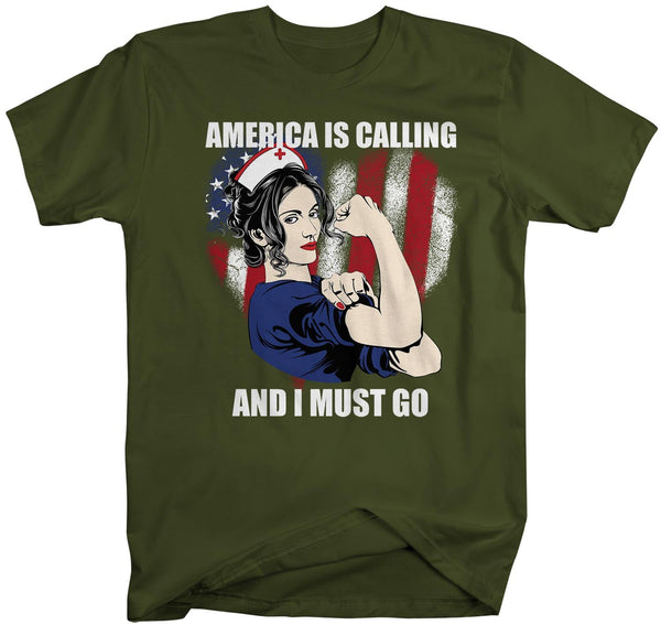 Men's Nurse T Shirt America Is Calling Shirt Nurse Shirt I Must Go Nurse Gift Idea American Flag Shirts Hero Shirt-Shirts By Sarah