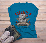 Men's America T Shirt Eagle Shirts One Nation Under God Graphic Tee Vintage 4th July TShirt-Shirts By Sarah