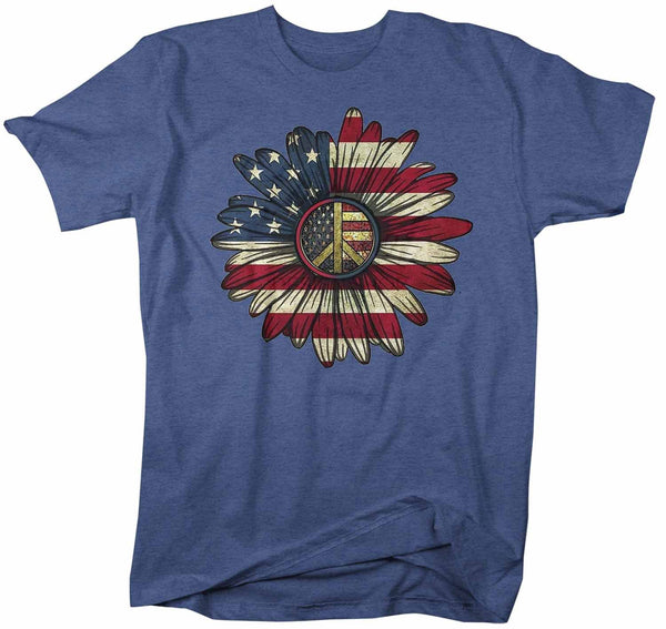 Men's America Flower T-Shirt 4th July Shirt Boho America Shirts Memorial Day Peace Shirt Patriotic Sunflower Shirt-Shirts By Sarah