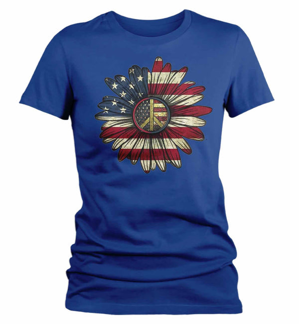Women's America Flower T-Shirt 4th July Shirt Boho America Shirts Memorial Day Peace Shirt Patriotic Sunflower Shirt-Shirts By Sarah