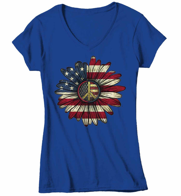 Women's V-Neck America Flower T-Shirt 4th July Shirt Boho America Shirts Memorial Day Peace Shirt Patriotic Sunflower Shirt-Shirts By Sarah