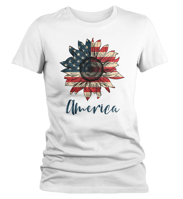 Women's America Sunflower T-Shirt 4th July Shirt Boho America Shirts Memorial Day Shirt Patriotic Sunflower Shirt-Shirts By Sarah