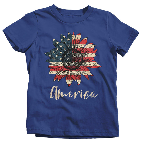 Kid's America Sunflower T-Shirt 4th July Shirt Boho America Shirts Memorial Day Shirt Patriotic Sunflower Shirt-Shirts By Sarah
