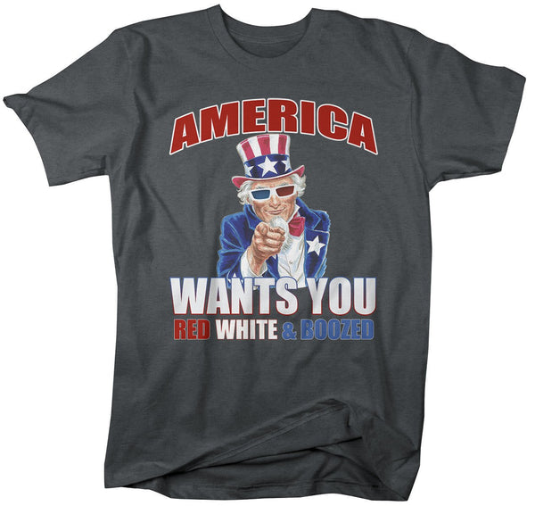 Shirts By Sarah Men's Uncle Sam Red White Boozed Funny 4th July Drinking T-Shirt-Shirts By Sarah