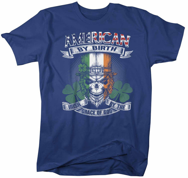 Men's Irish T Shirt American By Birth Shirt St Patrick's Day Irish By Grace Of God Shirt Funny Irish Shirt Skull Shirt Grunge Shirt-Shirts By Sarah