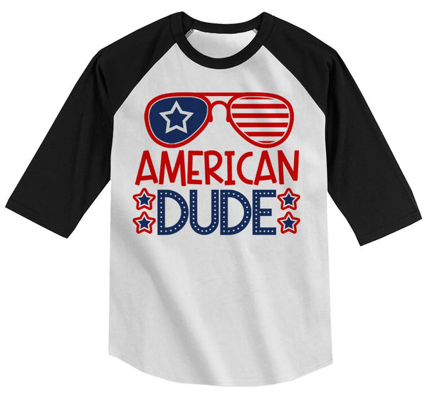 Boy's American Dude 4th July Hipster T-Shirt Glasses Tee 3/4 Sleeve Raglan-Shirts By Sarah
