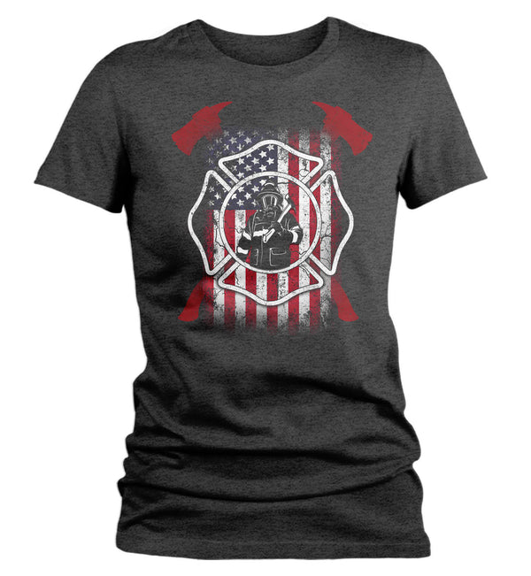 Women's Firefighter Shirt American Firefighter T Shirt Gift Idea Flag Patriotic Fireman Gift U.S. Flag Tee Ladies V Neck-Shirts By Sarah