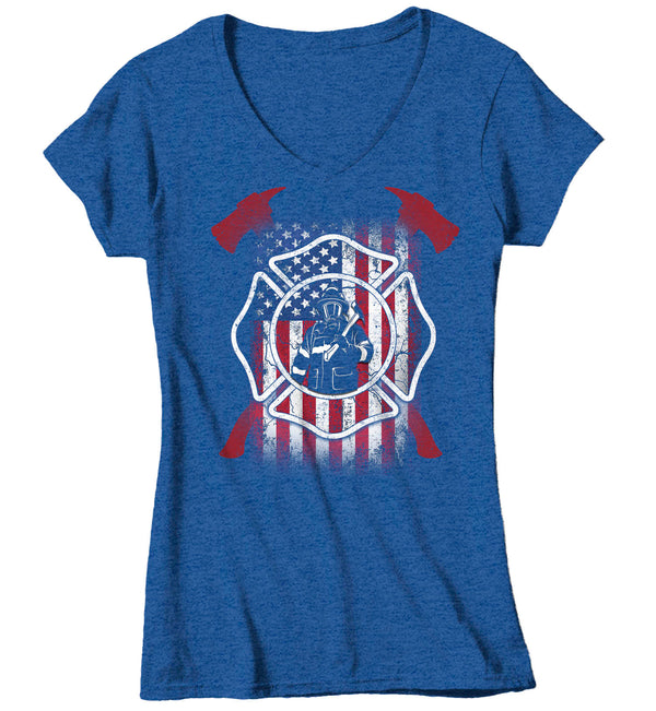 Women's V-Neck Firefighter Shirt American Firefighter T Shirt Gift Idea Flag Patriotic Fireman Gift U.S. Flag Tee Ladies V Neck-Shirts By Sarah