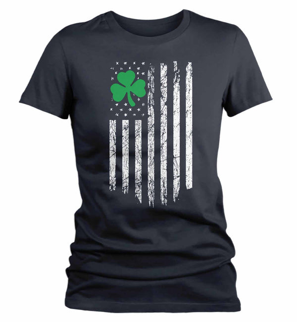 Women's Ireland T Shirt American Flag Shirt St Patrick's Day Flag Shirt St Patty's Day U.S. Flag Shirt St Pat Clover Tshirt-Shirts By Sarah