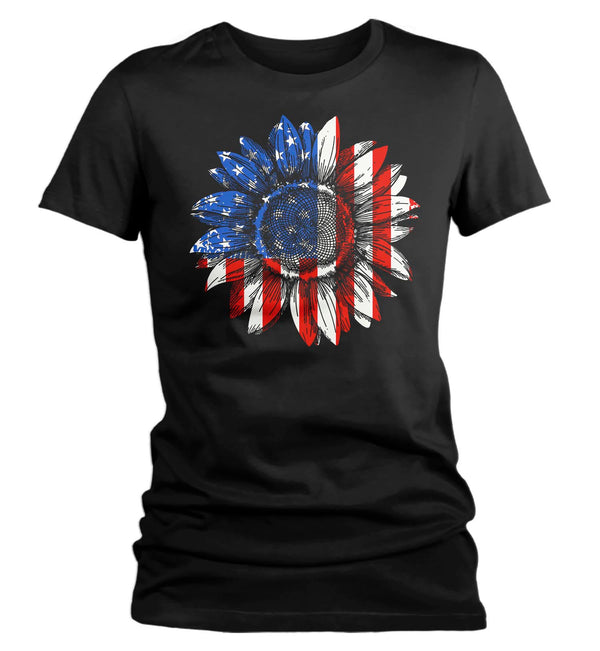 Women's American Flag Sunflower T-Shirt 4th July Shirt Boho America Shirts Memorial Day Shirt Patriotic Sunflower Shirt-Shirts By Sarah