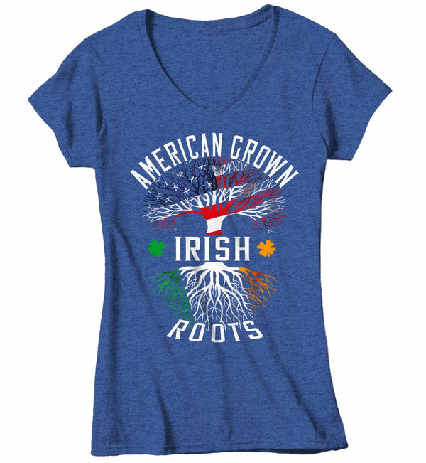Women's V-Neck Irish Pride T Shirt American Grown Irish Roots Shirt Proud Shirt Tree TShirt Irish Flag American Flag Shirt-Shirts By Sarah