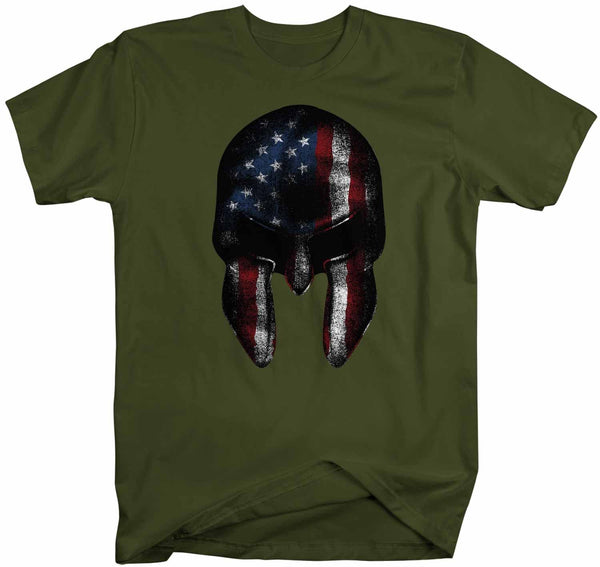 Men's Patriotic T Shirt American Flag Shirt Spartan Shirt Warrior Tee American Sparta Shirt Cool Grunge USA Shirt-Shirts By Sarah