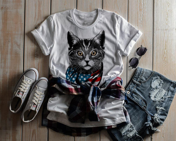 Shirts By Sarah Women's American Cat T-Shirt Americat Patriotic Shirts 4th July Flag-Shirts By Sarah