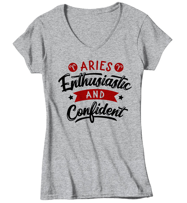 Women's Aries T-Shirt Enthusiastic & Confident Shirt Horoscope Shirt Astrology Shirts Aries TShirt Astrological-Shirts By Sarah