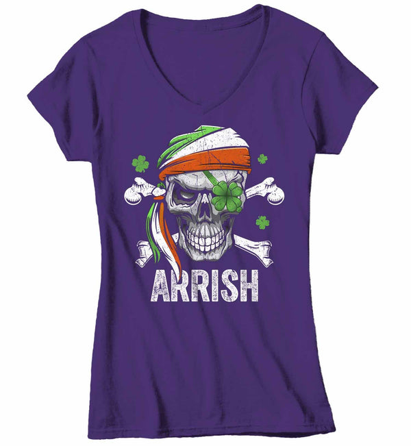 Women's V-Neck Funny St Patrick's Day T Shirt Pirate Shirt Arrish T Shirt Funny Irish Shirt Irish Pirate Shirt-Shirts By Sarah
