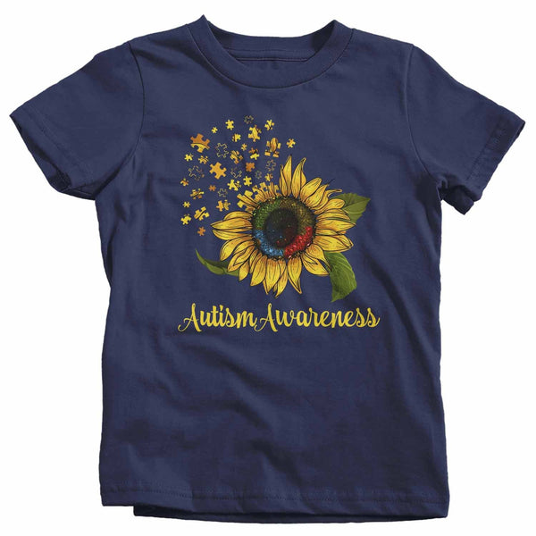 Kids Autism Awareness Shirt Sunflower Shirt Autism Flower Shirt Puzzle Awareness Shirts Cute TShirt-Shirts By Sarah