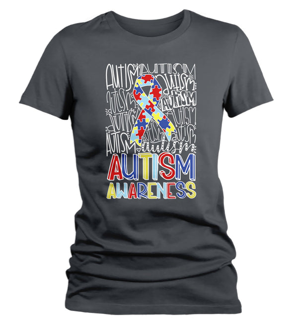 Women's Autism T Shirt Autism Typography Shirt Puzzle Ribbon Shirts Autism Support Tee Cute Autism Shirt-Shirts By Sarah