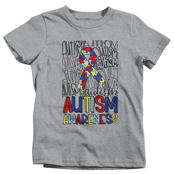Kids Autism T Shirt Autism Typography Shirt Puzzle Ribbon Shirts Autism Support Tee Cute Autism Shirt-Shirts By Sarah