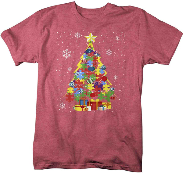 Men's Christmas Tree T Shirt Autism Christmas Shirts Puzzle Christmas Tree Shirt Tree Shirt Autistic Shirt-Shirts By Sarah
