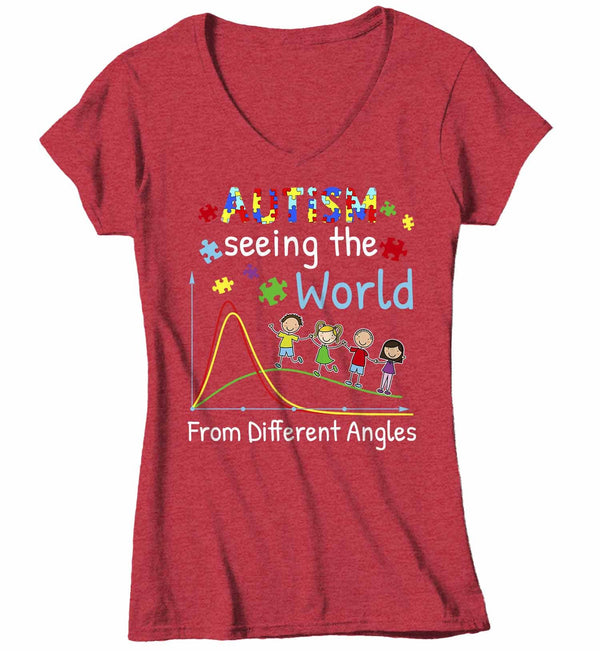 Women's V-Neck Autism T Shirt Seeing World Different Angles Shirt Autism Awareness Shirt Cute Autism Tee-Shirts By Sarah