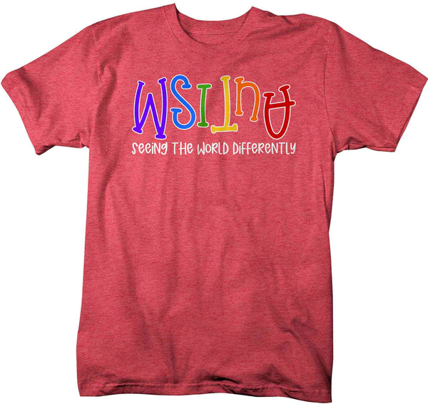 Men's Autism Shirt Seeing The World Differently T Shirt Autism Tee Not Less Shirt Support Autism Awareness Shirt Man Unisex-Shirts By Sarah