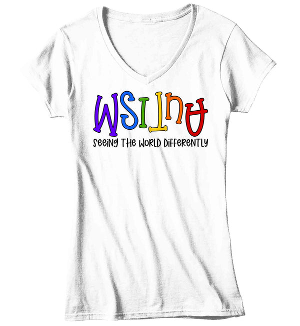 Women's V-Neck Autism Shirt Seeing The World Differently T Shirt Autism Tee Not Less Shirt Support Autism Awareness Shirt Ladies V-Neck-Shirts By Sarah