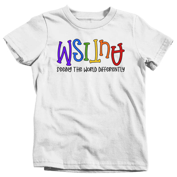 Kids Autism Shirt Seeing The World Differently T Shirt Autism Tee Not Less Shirt Support Autism Awareness Shirt Boy's Girl's Youth-Shirts By Sarah