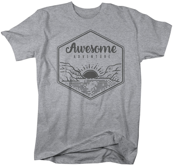 Men's Awesome Adventure Shirt Mountains T-Shirt Lake Sunrise Camping Vintage Wanderlust T Shirt-Shirts By Sarah